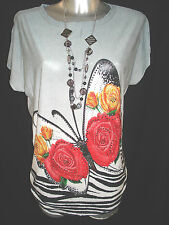 WOMENS LADIES ONESIZE batwing sequence ROSE print lont top t-shirt tunic 3778