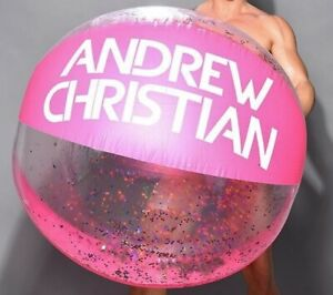 """60"""" ANDREW CHRISTIAN Inflatable BEACH BALL Vintage PINK & CLEAR Vinyl w/ GLITTER"""
