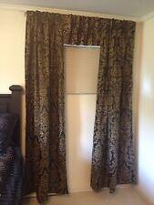 Croscill Damask Black Tan & Gold Drape (2) Panels 1 Valance