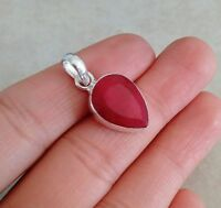 """NATURAL PEAR RED RUBY 925 STERLING SILVER PENDANT 1"""" NECKLACE CHARM HANDMADE"""