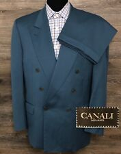 Canali Milano Men's Wool Blue Double Breasted Italian Business Suit 40S 34X28.5