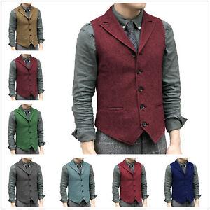 Men Tweed Waistcoat Groomsman Vest Vintage Herringbone Wool Peak Lapel Retro 3XL