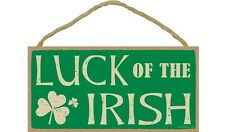 """LUCK OF THE IRISH Primitive Wood Hanging Sign 5"""" x 10"""""""
