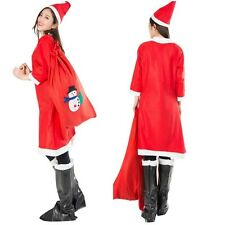 Miss Mrs Santa Claus Ladies Christmas Fancy Dress Costume Outfit + Hat Set Xmas