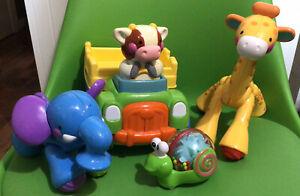Fisher Price Disney Amazing Animals Giraffe & Elephant, Push N Go Cow Musical