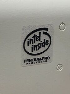 Pentium MMX Pro II III Tualatin Metallic Vintage Computer Case Badge Sticker CPU