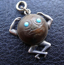 antique rare WWI SILVER wood touch wud Jellicoe navy man in moon lucky charm M34