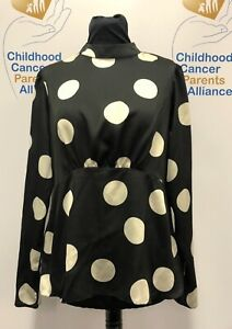 New Look Top Size UK 14 Black with Large White Dots Long Sleeves High Round Neck