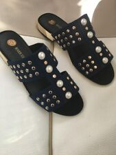 River island navy sandals with gold heel details and pearl front size 7
