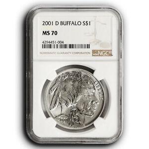 2001-D NGC MS70 Buffalo Commemorative Silver One Dollar Coin