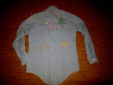 Vintage Chambray Tops All Sanforized Cotton Custom Embroidery Anchor Shirt Small