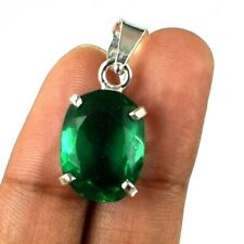 925 Sterling Silver Pendant Oval 11.95 Ct Muzo Emerald Natural Certified G7934