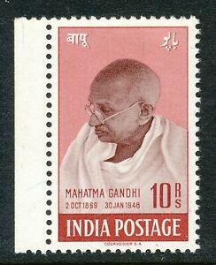 INDIA 1948- 10 Rs. MAHATMA GANDHI -MNH MARGINAL STAMP IN PERFECT CONDITION  Hk11