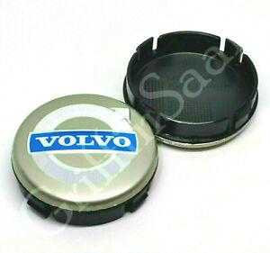 1x Volvo Alloy Wheel Centre Hub 64mm Cap Grey & Blue C30 C70 S40 V50 S60 V70