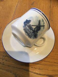 Eversberg West Germany white porcelain demitasse Blue And White Windmill Design