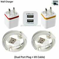 Original 2Port Wall Charger Adapter + 6ft Cable Cord iPhone11 X Max Xr Xs 8 7 65