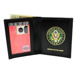U S Army Green Medallion Mens Black Leather Bi Fold Billfold Wallet Military