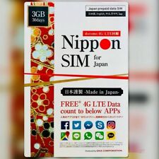 Japan DOCOMO 30Days Unlimited Data SIM Card + Free Data count to 10 APPs