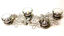 Flameless Votive Candle Centerpiece Silver Floral Glass 4 Battery Candles NIB