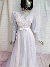 33a528894a0 Vintage Women s Small White Wedding Dress Long Train Lace Long Sleeve High  Neck