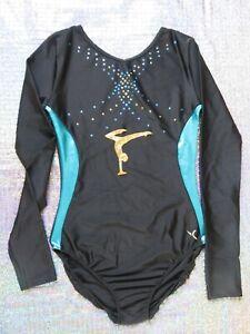 Gymnastics Leotard Black Blue Gold Sparkly Girls Long Sleeve Dance Rhythmic Gym