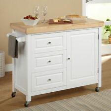 White Butcher Top Kitchen Cart Island Rolling Storage Prep Table Utility  Cabinet