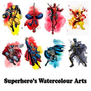 Superhero's Watercolour Arts Print Premium Poster High Quality choose sizes