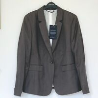 Jigsaw The London Fit Herringbone Jacket, Fawn 100% Wool Grey Size 14 RRP £179