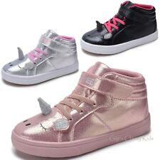 6ff417c3f815 Girls Pink Blush Silver Black Unicorn High Top Sneakers Tennis Shoes Kids  Youth