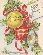 Beautiful Vintage Christmas Card Whitman Pretty Ornaments design - unused