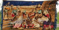 "Vintage Mid Century Velvet Nativity Tapestry Boho Rug Wall Hanging 45"" x 25"""