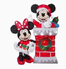 Lighted Disney Mickey & Minnie Mouse Sculpture Outdoor Christmas Decor Yard