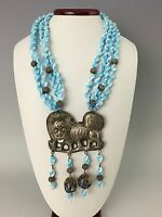 Antique 19th C. Chinese Kylin (Qilin) Porcelain, Enamel & Silver Necklace