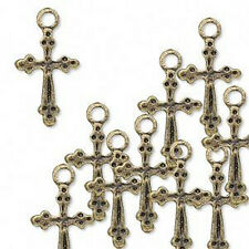 Cross Charms Steampunk Antiqued Brass Christian Lot of 20