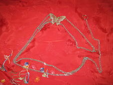 BUTTERFLY CHAIN SILVER  BELT FROM THE 1980'S WITH PINK RHINESTONES