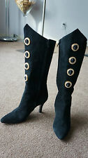 AUTH BALLY SUEDE SWAROVSKI CRYSTAL JEWELED BOOTS Sz 6 M MADE IN ITALY