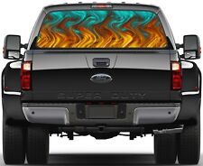 Turquoise Flame Rear Window Graphic Decal for Truck SUV Vans