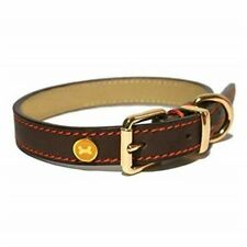 Rosewood Luxury Leather Dog Collar 14 - 18-inch Brown