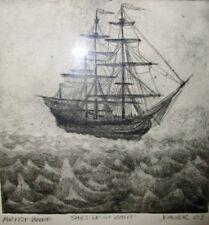 Brett Xavier Kosier Michigan Artist Proof Nautical Ship Print- Sails Up In Rain