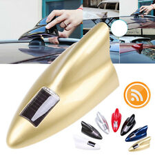 Gold RGB LED Color Car Signal Shark Fin Solar Antenna Roof + Remote Control