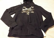 ZOO YORK Mens M Hoodie Black With Graphics Long Sleeves Zip Up Retail 60.00