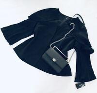 ALFANI WOMENS MODERN BLACK PLEATED SLEEVE JACKET BLAZER M NWT MSRP $99 ABFB