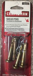 Craftsman 88992 4 Shear Pins 4 Cotter Pins ~ MTD Cub Cadet Snowthrower 738-04155