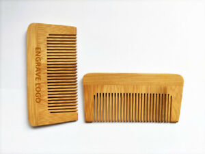 Engrave logo-Bamboo Wood Comb Fine Tooth Beard Care Comb Hair Brush Wholesale