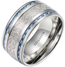 Mens 10mm Meteorite Inlay Titanium Wedding Band Ring With Blue Carbon Fiber
