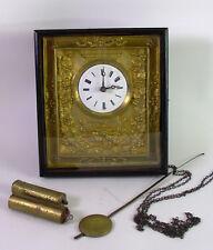 antike Wanduhr - Rahmenuhr  mit Gewichten und Pendel