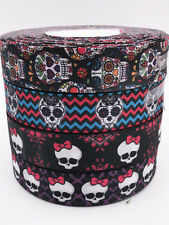 DIY1-10 Yard 1'' Skeleton style Printed Grosgrain Ribbon Hair Bow Sewing Ribbon
