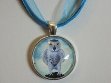 Silver Plated Turquoise Blue Snowy Owl Pendant Organza Ribbon Cords Necklace
