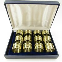 Vintage Set of 12 Round Solid Brass Napkin Rings Original Box