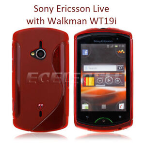 TPU gel silicone case cover S-line red for Sony Ericsson Live with Walkman WT19i